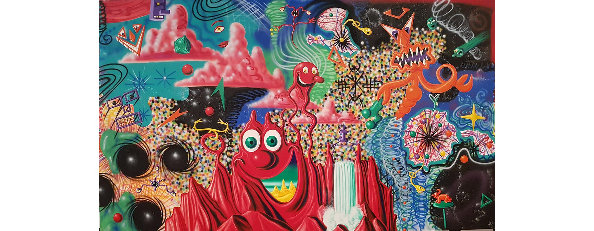 'WHEN WORLDS COLLIDE', 1984, oil and spray paint on canvas, 122 x 209 inches, by Kenny Scharf. (©Kenny Scharf.Licensed by Artestar, New York.)